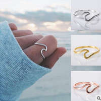 Simple wave ring Simple alloy silver plated