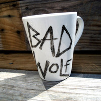 Bad Wolf DrWho Hand Painted Black and White Coffee Mug by betwixxt