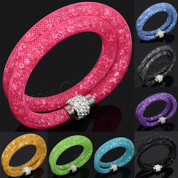 Various colors for choice !! Cheap sale stardust double wrap mesh bracelet with tiny resin crystal