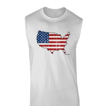 United States Cutout - American Flag Distressed Muscle Shirt  by TooLoud