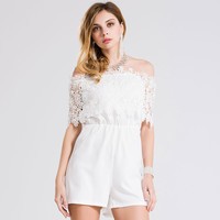 Women's Fashion Summer Plus Size Chiffon Sexy Lace Romper = 5893266049