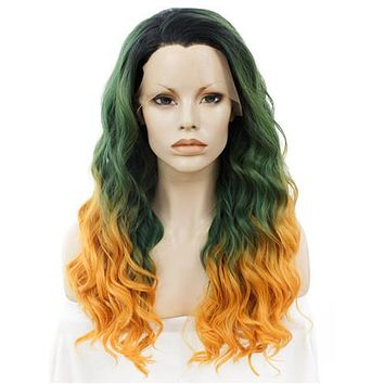 Long Green To Yellow & Orange Ombre Curly Synthetic Lace Front Wig