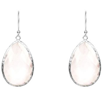 Silver Single Drop Earring Rose Quartz Hydro