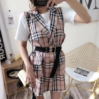 """Burberry"" Women Temperament Fashion Multicolor Tartan Stripe Sleeveless Tailored Collar Vest Mini Dress"