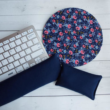 floral - Mouse pad set - mouse wrist rest keyboard rest mini rosa navy coworker gift, under 50