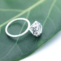 925 Sterling silver 3 dimensional Diamond Shape ring - geometric jewelry , R0019S