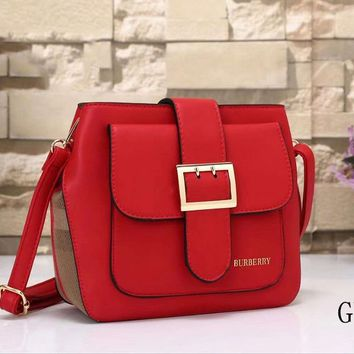 Burberry Women Leather Shoulder Bag Crossbody Satchel Red