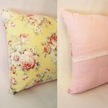 Ready to Ship - Vintage Yellow Pink Floral Lace Trim Decorative Pillow Case Cover Size 14x14