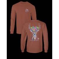 Sassy Frass Woodland Preppy Deer Antlers Flowers Comfort Colors Girlie Long Sleeves Bright T Shirt