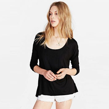 Long Sleeve Top with Back V Cut