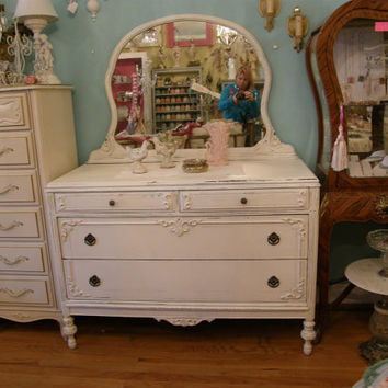 FAB antique dresser shabby chic white by VintageChicFurniture