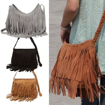 Hot Sale Fashion Women's Suede Weave Tassel Shoulder Bag Messenger Bag Fringe Handbags