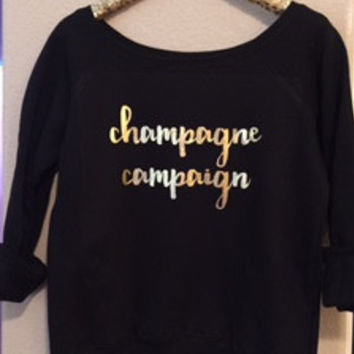 Champagne Campaign- Ruffles with Love - Off the Shoulder Sweatshirt - Womens Clothing - RWL