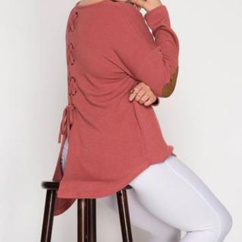 Button Back Sweater with Elbow Patch