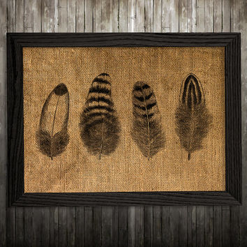 Feather decor Antique print Tribal poster Burlap print BLP894