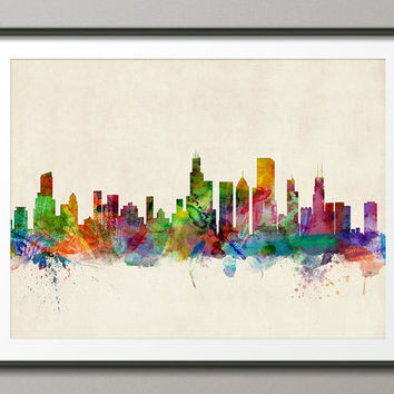 Chicago Skyline, Art Print (470)