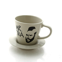 SALE Mr. T teacup and saucer upcycled taupe