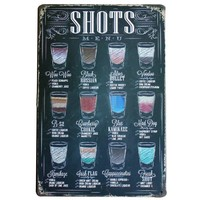 SHOTS MENU Vintage Wine Sign Retro Tin Neon Plaque Decor Home Plate