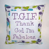 Funny Cross Stitch Pillow, Green Blue and Purple Pillow, Fabulous Quote