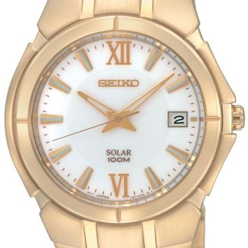 Seiko SNE090 Men's Silver Dial Gold Tone Stainless Steel Watch