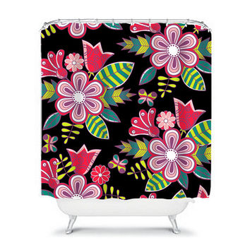 Shower Curtain Tropical Pink Green Black Blue Flower Floral Pattern Butterfly Girl Bathroom Bath Polyester Made in the USA