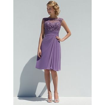 2016 New Honor Of Brides Bridesmaid Dresses Guest Gown With A Line Sheer Neckline Lilac Chiffon Knee Length Button Back Cheap