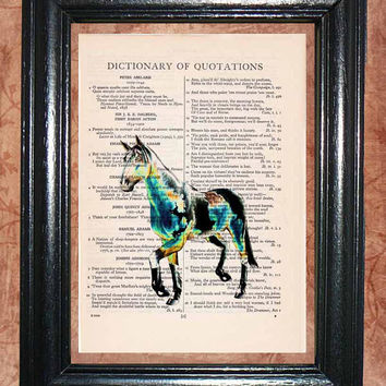 Night Glow Horse - Vintage Dictionary Book Page Art Unique Upcycled Page Art Wall Decor Kitsch Art Print