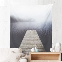 Wall Tapestry With Moody Lake Photo, Wanderlust Tapestry, Nature Wall Art, Lake Tapestry, Lake Wall Decor, Home Decor, Original, Dorm Decor