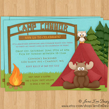 Camp Out Invite Sleepover Birthday Party Invitation - Printable, DIY, Digital, Tent, Fire, Moose, Forest, Smore