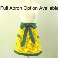 Womens Lemons Apron,  Lemon Half Apron, Lemon Full Apron, Fruit Apron, Lemon Kitchen Decor, Yellow Kitchen Apron, Lemons Bridal Shower Gift