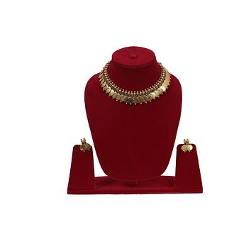 Multilayer Coin Tassel Pendants Antique Hollow Indian Jewelry Collar Necklace With Earrings Set