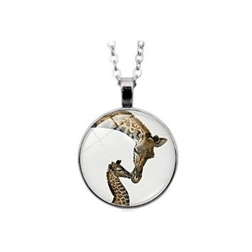 CREYV2S Giraffe necklace Mama and Baby Animal Jewelry Wildlife Safari Nature Art necklace