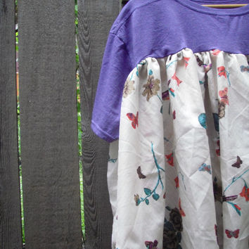 Breezy Butterfly Bird Hi Lo Top/ Eco Ruffle Baby Doll Shirt/  Upcycled Tee Blouse L-XXL Overzized Plussize