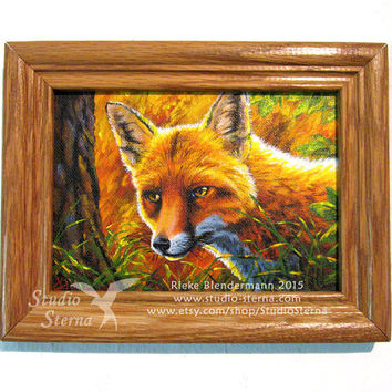 Fox portrait original acrylic painting on canvas forest wild animal canine autumn orange red tree woods nature morning sun fur