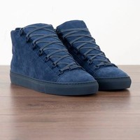 BALENCIAGA 650$ Authentic New Marine Blue Suede Arena High Top Sneakers