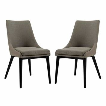 Viscount Set of 2 Fabric Dining Side Chair, Granite