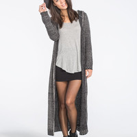 Full Tilt Marled Womens Hooded Duster Cardigan Black/Grey  In Sizes