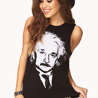 FOREVER 21 Albert Einstein Muscle Tee Black/White Large