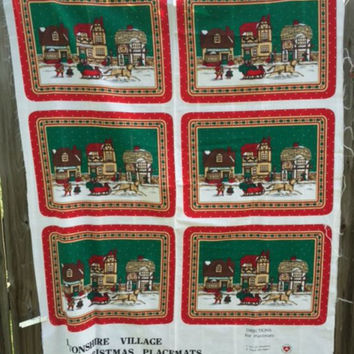 Christmas Placemat Fabric Panel 6 Winter Devonshire Village Scene Quilt Material Destash Sewing Supplies New
