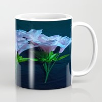 pink and blue flowers on black Mug by Scott Hervieux