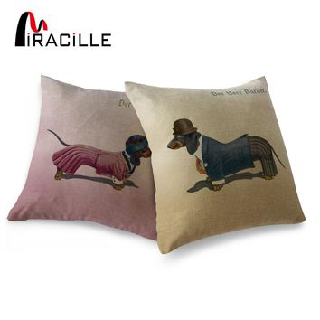"Miracille Square 18"" Linen Blend Dachshund Dogs Home Decorative Couple Throw Pillow Cushion Couch Decor No Core"