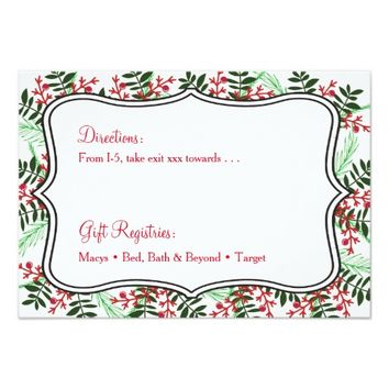 Christmas, Holiday Wedding Details Reception Card
