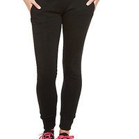 Solid Fleece-Lined Sweatpants with Drawstring Waist and Zip Pockets