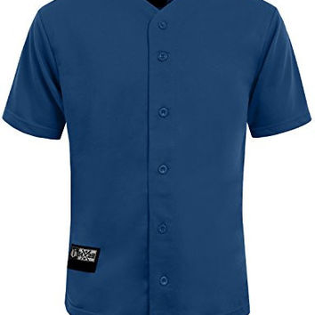 NE PEOPLE Mens Plain Short Sleeve Button Down Active Stripe Baseball Jersey