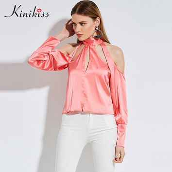 Female cool blouse apparel long sleeve pink lace up backless satin school women tops fashion blouse shirt