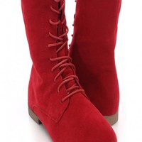 Red Faux Suede Lace Up Boots
