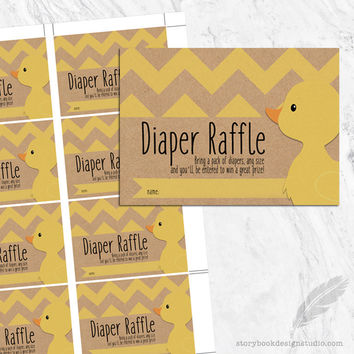 Ducky Baby Shower Diaper Raffle Tickets
