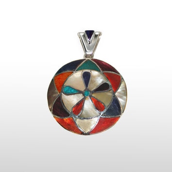 Round Flower Pendant Sterling Silver with Multi-stones