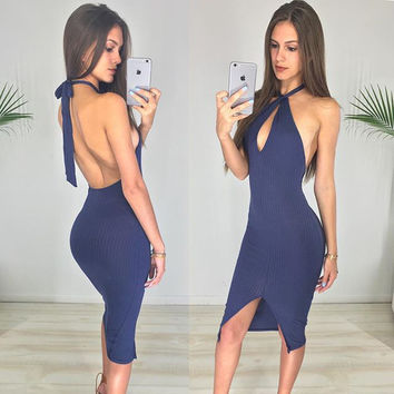 Backless V-neck Sleeveless Pure Color Dress