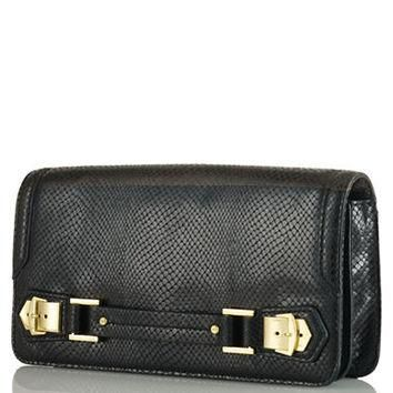 Lauren Ralph Lauren Snakeskin-Embossed Leather Clutch